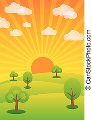evening sunshine, summer rural landscape, background vector