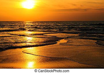 evening., tengerpart, lenget