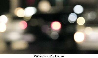 Evening traffic blurred shot. The city lights defocused Abstract background