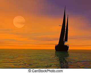 Evening travel - Yacht sailing on calm sea at sunset.