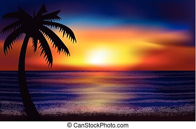 Evening tropical sea, vector illustration