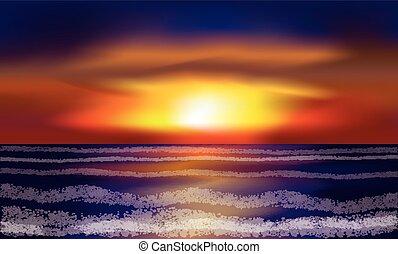 Evening tropical sea wallpaper, vector illustration