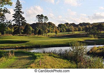 evening veiw on a golf course
