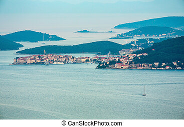 Evening view from Peljesac peninsula, Croatia