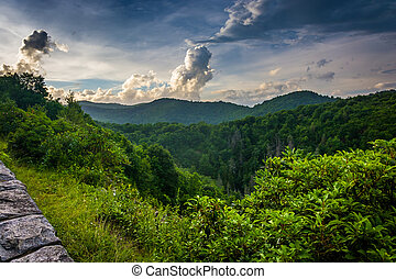 Evening view from the Blue Ridge Parkway in North Carolina.