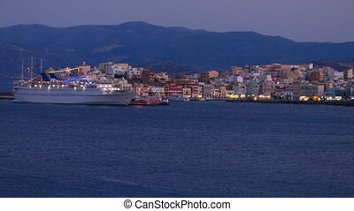 Evening view of Agios Nikolaos city