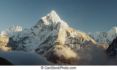 Evening view of Ama Dablam on the way to Everest Base Camp -...