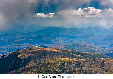 Evening view of distant ridges from Mount Washington, in the...