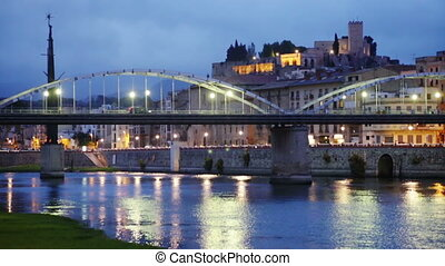 bridge and Castle in Tortosa - Evening view of Ebro with...