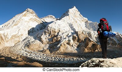 Evening view of Everest with tourist