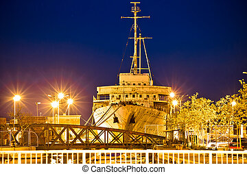 Evening view of Galeb ship wreck, former command ship of...