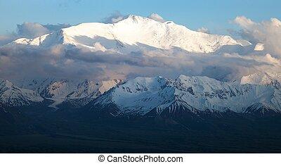Evening view of Lenin Peak from Alay range - Kyrgyz Pamir ...