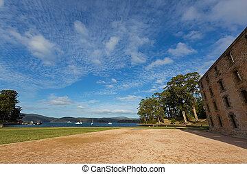 Evening view of old Penitentiary near Mason Cove at Port Arthur, Tasmania, Australia.