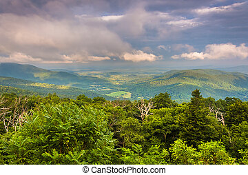 Evening view of Piedmont from Skyline Drive in Shenandoah...