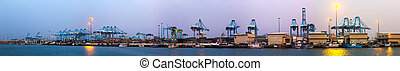 Evening view of Port of Algeciras - Evening view of Port of...