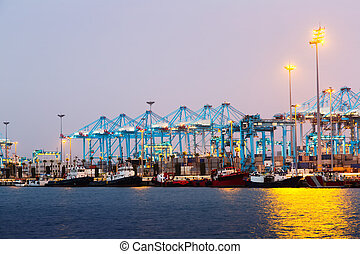Evening view of Port with cranes
