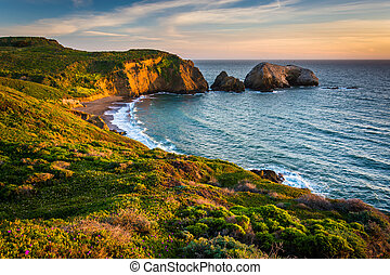 Evening view of Rodeo Beach, at Golden Gate National Recreation Area, in San Francisco, California.