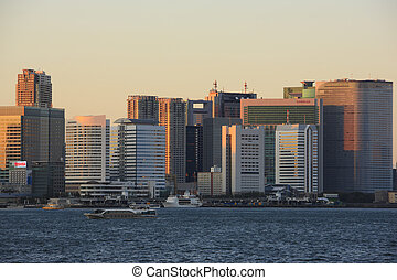 Evening View of Skyscrapers in Shiodome