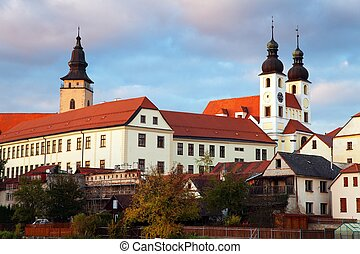 Evening view of Telc or Teltsch town,