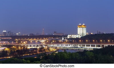 Evening view of the Academy of Sciences and the Shukhov...