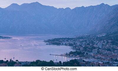 Evening view of the bay of Kotor in Montenegro - Day to...