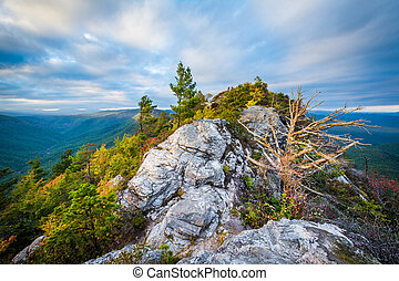 Evening view of the Blue Ridge Mountains from Table Rock, on...