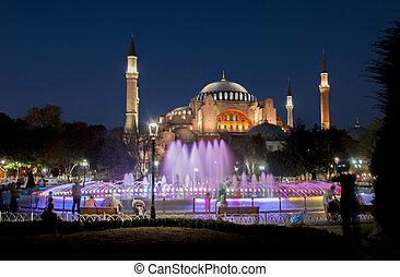 Evening view of the Hagia Sophia