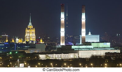 Evening view of the Hotel Ukraine and the Ostankini Tower...