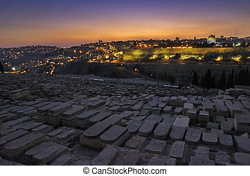 Evening view of the old city Jerusalem. Israel.