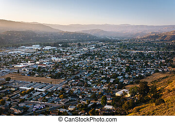Evening view of Ventura and distant mountains from Grant Park, i