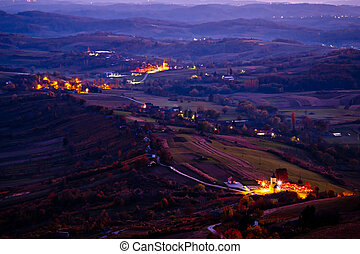Evening view of villages and landscape of Prigorje region of...