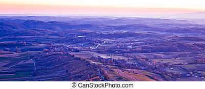 Evening view of villages and landscape, Prigorje region of...