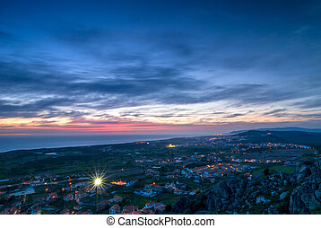 Evening View Over Small Town