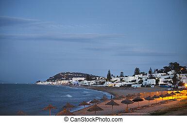 Evening view to the beach in Gammarth Tunis, Tunisia