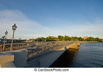 Evening waterfront city  Stockholm