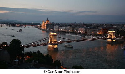 Evening waterscape of Budapest centre with The Szechenyi Chain Bridge