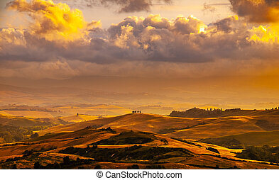 Evening with dramatic cloudscape in Tuscany, Italy