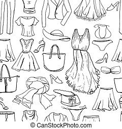 Evening woman clothes. Seamless pattern,black and white