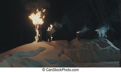 evening., yard., hiver, brûlé, journaux bord