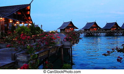 tropical island resort - evening,tropical island resort,...