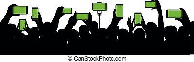 event., コンサート, シルエット, 保有物, 群集, 人々, モビール, audience., 朗らかである, レコード, ベクトル, ビデオ, 背景, 手, 電話。, 白, smartphone