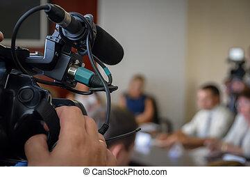event., テレビ, ジャーナリスト, カバー, spokespersons, 録音, desk., カメラ, 出版物, ニュース, conference.