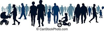 event., aller, marche, groupe, foule, gens, gens, audience., national, public, vecteur, en mouvement, grand, foule, silhouette, réunion, going.