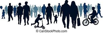 event., aller, marche, groupe, foule, gens, gens, grand, going., vecteur, en mouvement, foule, silhouette, réunion