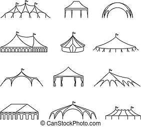 Event and wedding outdoor marquee tents vector line icons. Wedding pavilion and shelter roof, marquee and canopy structure, canvas folding illustration