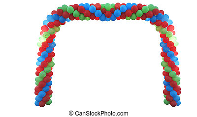 Event arch of red, green, blue, yellow baloons isolated on white background