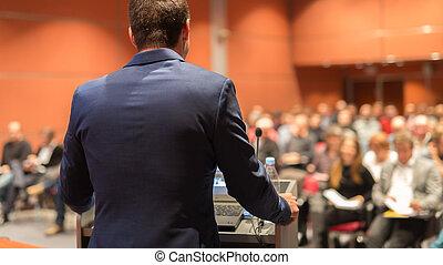 event., business, donner, orateur, public, parler