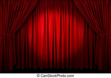Event Curtain - Large red curtain with spot light and fading...