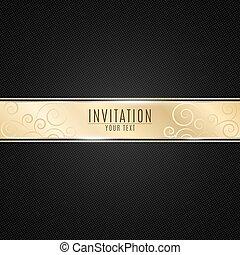event., dorato, oro, modello, invito, invitation., mesh., lussuoso, bandiera, realistico, vip, vettore, sfondo nero, striscia, inscription., nastro
