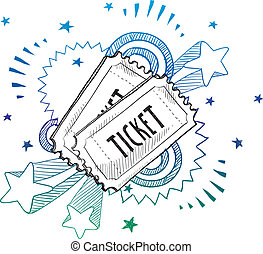 Doodle style movie or concert ticket illustration in vector format with retro 1970s pop background